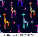 abstract seamless giraffe... | Shutterstock .eps vector #1052830721