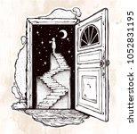 open door into a dream....   Shutterstock .eps vector #1052831195