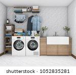 3d rendering washing machine in ... | Shutterstock . vector #1052835281