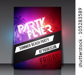 summer beach party vector flyer ... | Shutterstock .eps vector #105283589