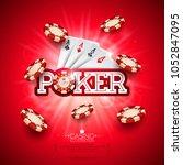 casino illustration with poker... | Shutterstock .eps vector #1052847095