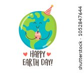 happy earth day greeting card... | Shutterstock .eps vector #1052847644