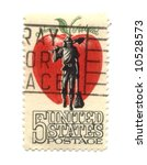 Old postage stamp from USA five cents - stock photo