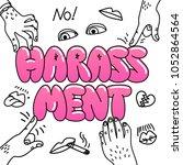 sexual harassment concept.... | Shutterstock .eps vector #1052864564