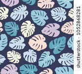 vector tropical pattern with... | Shutterstock .eps vector #1052868281
