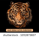 embroidery colorful pattern... | Shutterstock .eps vector #1052873837