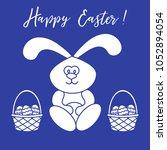 easter symbols. easter rabbit... | Shutterstock .eps vector #1052894054