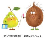 funny fruits. coconut and pear. ... | Shutterstock . vector #1052897171