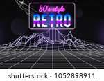 80s style wireframe background. ... | Shutterstock .eps vector #1052898911