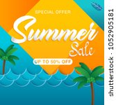 summer sale banner design... | Shutterstock .eps vector #1052905181