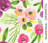 seamless watercolor floral... | Shutterstock . vector #1052905721