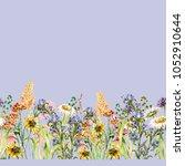 watercolor flowers of meadow.... | Shutterstock . vector #1052910644