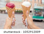 two colorful tasty ice cream...   Shutterstock . vector #1052912009