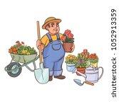 a gardener against the backdrop ... | Shutterstock .eps vector #1052913359