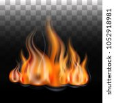 a fiery flame. fire in the... | Shutterstock .eps vector #1052918981