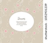 invitation card with floral ... | Shutterstock .eps vector #1052931239