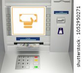 atm machine with banknotes in... | Shutterstock . vector #1052950271