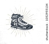 vintage hand drawn hiking boots.... | Shutterstock .eps vector #1052955134