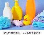 closeup photo baby bath...   Shutterstock . vector #1052961545