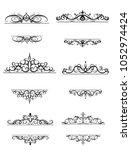 vintage vector swirl frame set   Shutterstock .eps vector #1052974424