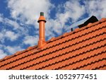 plastic fume hood on the roof... | Shutterstock . vector #1052977451