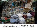 Small photo of Yarmulka and Jewish items at the market Jerusalem