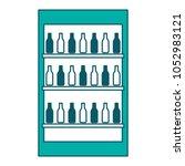 fridge with bottles drink... | Shutterstock .eps vector #1052983121
