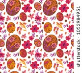 seamless pattern with easter... | Shutterstock .eps vector #1052984951