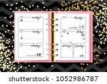 week organizer. opened notebook ... | Shutterstock .eps vector #1052986787
