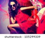 brunette woman in sunglasses... | Shutterstock . vector #105299339