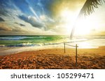 stormy andaman sea at sunset.... | Shutterstock . vector #105299471