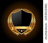 blank golden emblem   Shutterstock .eps vector #1053010481