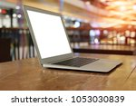 side view laptop with white... | Shutterstock . vector #1053030839