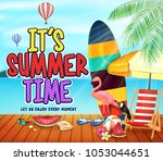 it's summer time wooden pier... | Shutterstock .eps vector #1053044651