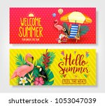 welcome summer and hello summer ... | Shutterstock .eps vector #1053047039
