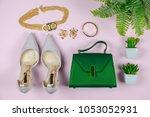 fashion woman accessories set....   Shutterstock . vector #1053052931