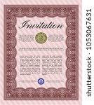 red vintage invitation template.... | Shutterstock .eps vector #1053067631