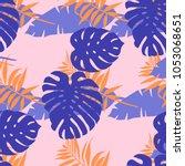 exotic monstera  banana leaf on ... | Shutterstock .eps vector #1053068651