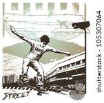 skate jump with grunge city... | Shutterstock .eps vector #105307064