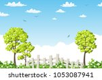summer landscape with trees ... | Shutterstock .eps vector #1053087941