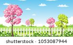 sping landscape with trees ... | Shutterstock .eps vector #1053087944
