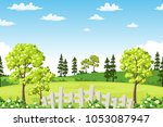 summer landscape with trees ... | Shutterstock .eps vector #1053087947