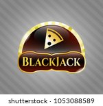 gold badge with pizza slice...   Shutterstock .eps vector #1053088589