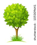 Tree With Green Leaves Vector...