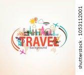 around the world travel... | Shutterstock .eps vector #1053112001