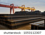 a large amount of steel is... | Shutterstock . vector #1053112307