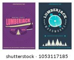 retro style lumber jack posters ...   Shutterstock .eps vector #1053117185