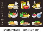 meals of people who should eat... | Shutterstock .eps vector #1053124184