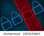 concept of cyber attack and... | Shutterstock .eps vector #1053133601