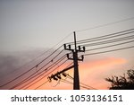 hight voltage electric towers... | Shutterstock . vector #1053136151